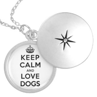 Keep Calm and Love Dogs Round Locket Necklace