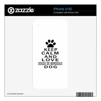 Keep Calm And Love Dogue de Bordeaux Dog Decals For iPhone 4