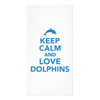 Keep calm and love dolphins photo cards