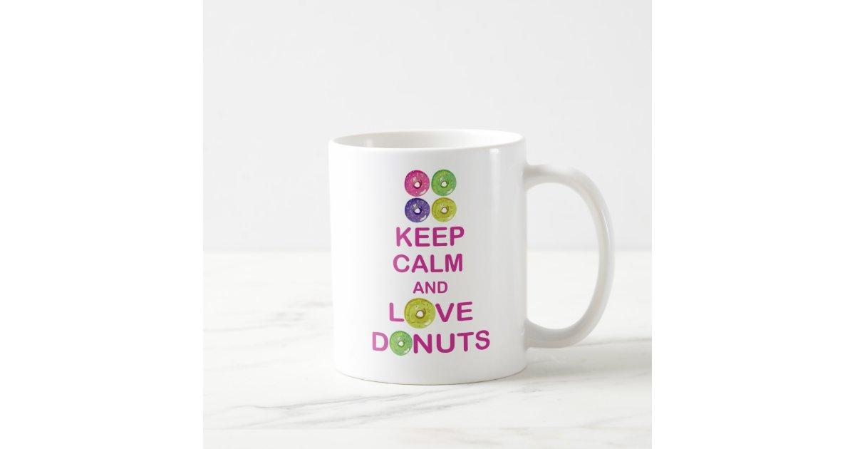 Keep calm and love donuts unique coffee mug design zazzle for Coffee mugs unique design