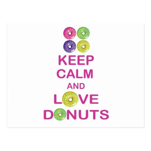 Keep Calm and Love Donuts Unique Doughnut Gift Postcard