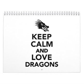 Keep calm and love dragons wall calendar