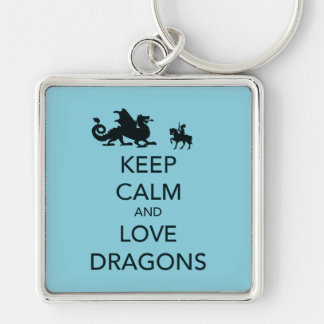 Keep Calm and Love Dragons Unique Print on Blue Keychain