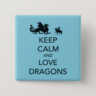 Keep Calm and Love Dragons Unique Print on Blue Pinback Button