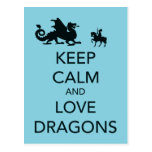 Keep Calm and Love Dragons Unique Print on Blue Postcard