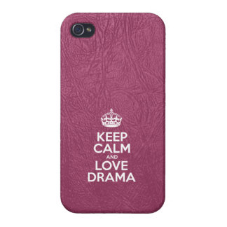 Keep Calm and Love Drama - Pink Leather iPhone 4/4S Cover