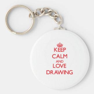 Keep calm and love Drawing Key Chain