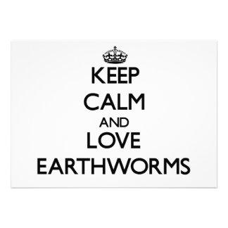 Keep calm and Love Earthworms Custom Invites