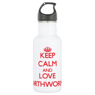 Keep calm and love Earthworms 18oz Water Bottle