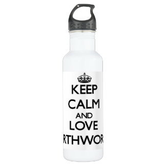 Keep calm and Love Earthworms 24oz Water Bottle
