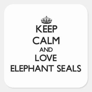 Keep calm and Love Elephant Seals Square Sticker