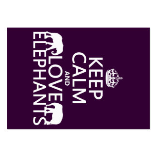 Keep Calm and Love Elephants (any color) Large Business Cards (Pack Of 100)