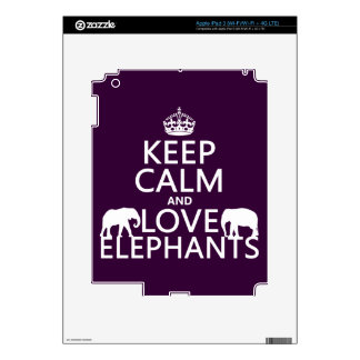 Keep Calm and Love Elephants (any color) Decal For iPad 3