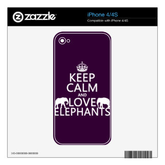 Keep Calm and Love Elephants (any color) Decal For The iPhone 4S