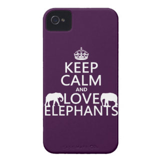 Keep Calm and Love Elephants (any color) iPhone 4 Case-Mate Case