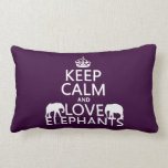 Keep Calm and Love Elephants (any color) Pillow