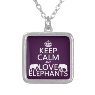 Keep Calm and Love Elephants (any color) Silver Plated Necklace