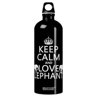 Keep Calm and Love Elephants (any color) Water Bottle