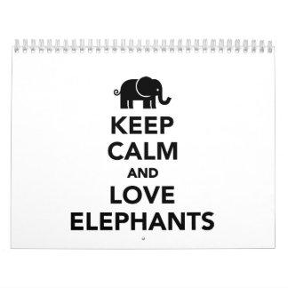 Keep calm and love elephants calendar