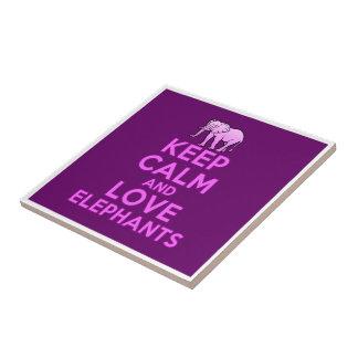 Keep Calm and Love Elephants Ceramic Tile