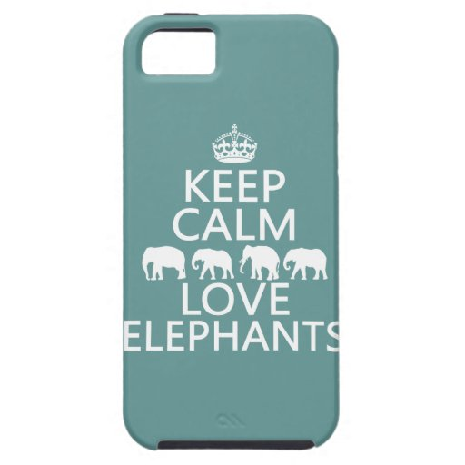 Keep Calm and Love Elephants (customizable colors) iPhone 5 Case