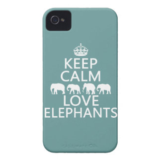 Keep Calm and Love Elephants (customizable colors) Case-Mate iPhone 4 Case