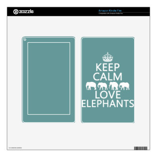 Keep Calm and Love Elephants (customizable colors) Decals For Kindle Fire
