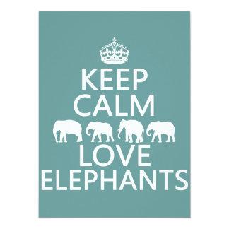 Keep Calm and Love Elephants (customizable colors) 5.5x7.5 Paper Invitation Card