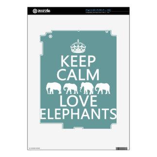 Keep Calm and Love Elephants (customizable colors) iPad 2 Decal