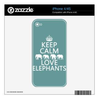 Keep Calm and Love Elephants (customizable colors) iPhone 4S Skin