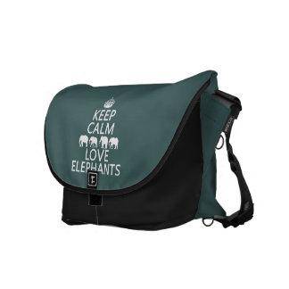 Keep Calm and Love Elephants (customizable colors) Messenger Bag