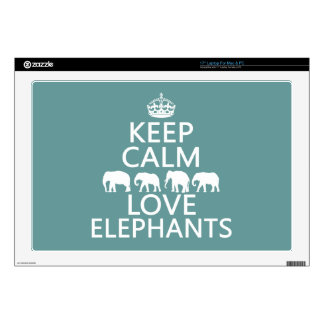 Keep Calm and Love Elephants (customizable colors) Skin For Laptop