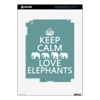 Keep Calm and Love Elephants (customizable colors) Skins For iPad 3