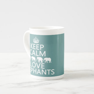 Keep Calm and Love Elephants (customizable colors) Tea Cup