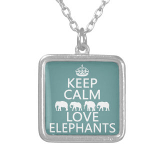 Keep Calm and Love Elephants (customizable colors) Square Pendant Necklace