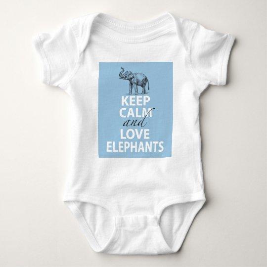 Keep Calm and Love Elephants Gift Fun to Wear Baby Bodysuit