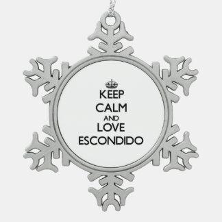 Keep Calm and love Escondido Snowflake Pewter Christmas Ornament