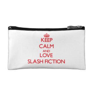 Keep calm and love Fiction Makeup Bags