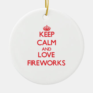 Keep calm and love Fireworks Double-Sided Ceramic Round Christmas Ornament