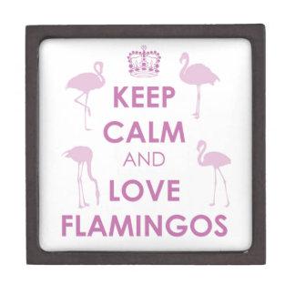 Keep Calm and Love Flamingos Premium Keepsake Box