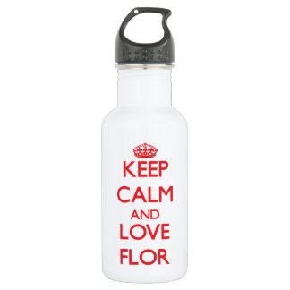 Keep Calm and Love Flor 18oz Water Bottle