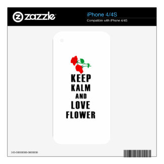 keep calm and love flower iPhone 4 decals