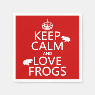 Keep Calm and Love Frogs (any background color) Standard Cocktail Napkin