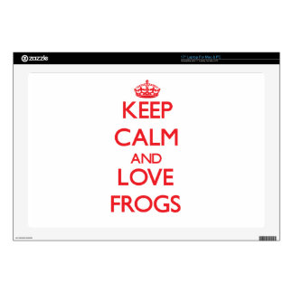 """Keep calm and love Frogs 17"""" Laptop Skin"""