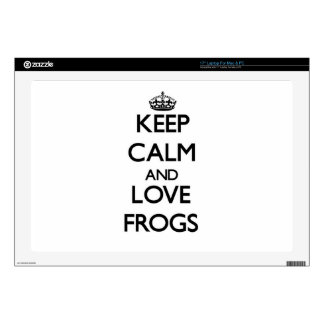 Keep calm and Love Frogs Laptop Skin