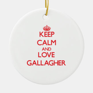 Keep calm and love Gallagher Double-Sided Ceramic Round Christmas Ornament