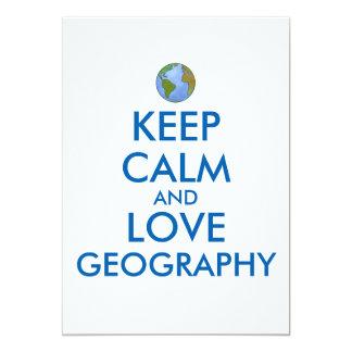 Keep Calm and Love Geography Customizable Card