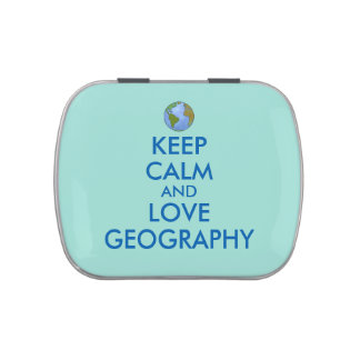 Keep Calm and Love Geography Customizable Jelly Belly Candy Tin