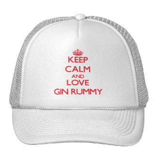 Keep calm and love Gin Rummy Mesh Hats