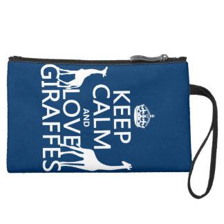 Keep Calm and Love Giraffes - all colours Wristlet Purse